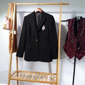 Kasper Black Crest Blazer / Jacket Career Size M